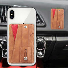 Universal Leather Credit Card Holder Back Strap Stick On Adhesive For Cellphone