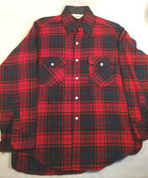 Vintage WOOLRICH Wool Blend Shirt Large Tall Long Red Buffalo Plaid Made in USA