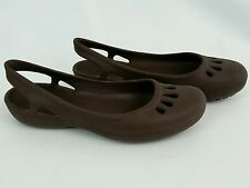 Crocs Women's Thea Sling Back Flats Shoes 7 Brown Slip On