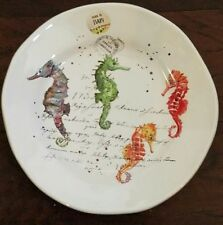 NEW EFFETTI D ARTE MADE IN ITALY SET OF 2 COLORFUL SEAHORSE PLATES