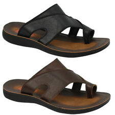 Mens Leather Black Brown Big Size Toe Grip Holiday Sandals Pool Thong Slippers