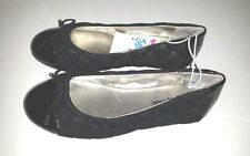 Justice Black Patent Leather Toe Ballet Flats Bow Dress Shoes Size: 12 nwt