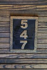 Custom Carved Sign Address Plaque Wood, Hand Painted Brass Finish