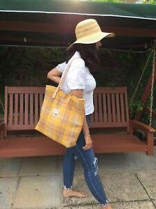 Harris tweed bag, yellow tote. tartan purse, tartan tote, large tote, plaid tote
