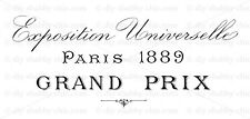 Furniture Decal Image Transfer Vintage Shabby Chic Paris Grand Prix Typography