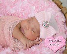 NEWBORN GIRL take home pink and white hospital beanie with bow coming home hat