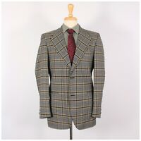 Vintage 70's 38R Gray Check Polyester Two Button Sport Coat Blazer Jacket