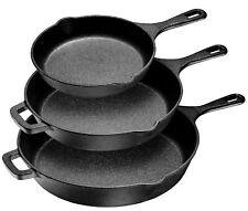 """Pre-Seasoned Cast Iron 3 Piece Skillet Bundle Cast Iron Frying Pans - 8"""" 10"""" 12"""""""