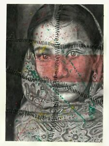 """""""Stitches"""" by M.H. Original Mixed Media Drawing Sketch Woman Portrait Artwork"""
