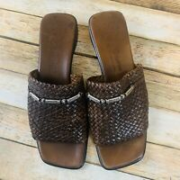 Brighton Unity Sandal Size 8.5 Brown Woven Leather Chain Accent Low Heel Comfort
