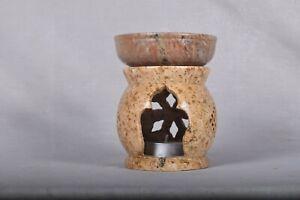 Handmade Oil Diffuser Stone Aroma Burner Wax Tart Warmer Jali Pattern Large Size