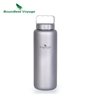 Titanium 1050ml Water Bottle with Handle Big Capacity Wide Mouth Outdoor Camping