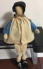 "Amish Country Shelf Sitter Primitive Rustic 8"" Sitting Faceless Rag Doll Vintage"