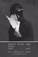"Pusha T ""Darkest Before Dawn Tour"" 2016 Houston Concert Poster-Hip Hop,Rap Music"