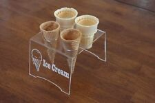 Engraved Acrylic 4 Cone Ice Cream Cone Holder Tray Display Stand Rack Wedding