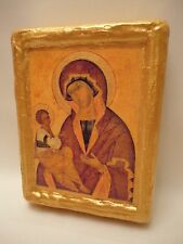 Virgin Mary Jesus Christian Art Rare Byzantine Orthodox Icon on Pine Wood