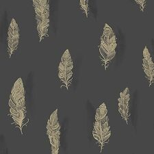 QUILL FEATHER WALLPAPER - HOLDEN DECOR - CHARCOAL 11503 FEATURE WALL BEDROOM