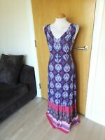 Ladies PER UNA Dress Size 14 Blue Long Maxi Stretch Party Day Summer