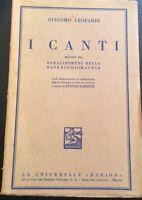I canti - Giacomo Leopardi - Barion - 1942 - M