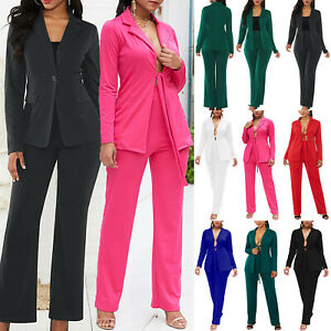 Womens Blazer Jacket & Long Pants Sets Smart Office Tops Business Formal Suits