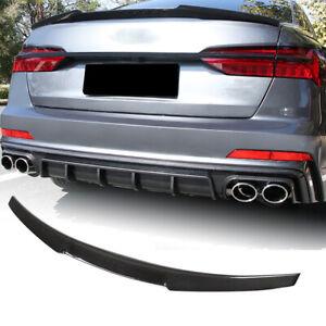 Fit For Audi A6 C8 /A6L/S6 19-20 Carbon Fiber Rear Boot Trunk Lip Spoiler Wing