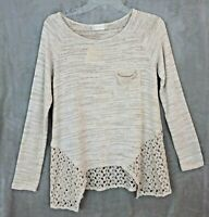 NWT Altar'd State Top Womens Small S Cream Crochet Cut Out Hem L/S Soft Knit