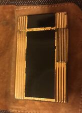 VINTAGE S.T DuPont Lighter Black De Chin  And Gold Plated Made In France