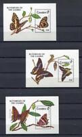 27777) Gambia 1991 MNH New Butterflies S/S x3