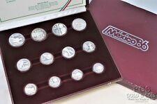 1986 Mexico World Cup Championship Silver Proof Coin Set 12 Coins, Coa,Box 21480