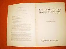 rivista di cultura classica e medievale  1,63