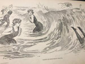 "1906 Vintage Print ""Plenty of Good Fish in the Sea"" by Charles Dana Gibson Girl"