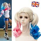 Batman Suicide Squad Harley Quinn Wig Pink Blue Gradient Hair Cosplay Party Wig