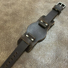Size 18/20mm Handmade Pilot Bund Style Cow Leather Watch Strap Band #135B