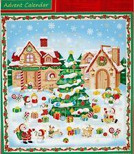 Snow Village  Advent Calender Fabric Panel- Snowman Xmas Christmas Panel to make