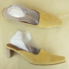 """Tommy Bahama Slide Pointy Square Toe Block Heel 2.5"""" Italy US 8 M Suede Brown"""