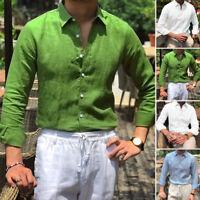INCERUN Mens Linen Long Sleeve Shirt Beach Loose Casual Collar Shirt Formal Tops