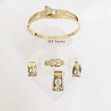 Jewelry set of matching Earring, Pendant, Ring, & bangle -14K Yellow Gold - O10