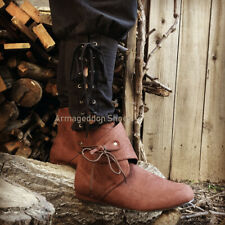 Mens Brown Roman Historical Game of Thrones Viking Ragnar Costume Boots Shoes