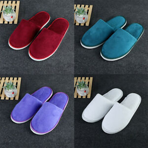 Men's Disposable Solid Color Coral Fleece Slippers Warm Non-slip Soft Slippers