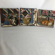Cross Stich Square Of Cats And Amish Quilt Background