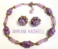 VTG MIRIAM HASKELL (Signed) Plum ART GLASS NECKLACE & EARRINGS -AUTHENTIC!