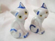Vintage Japan porcelain Salt & Pepper Shakers white & blue Cats