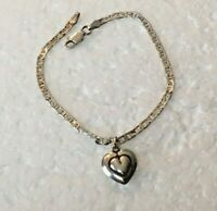 """Vtg Solid Sterling Silver ANCHOR CHAIN 7.25 in. """" BRACELET 3D heart Italy 925"""