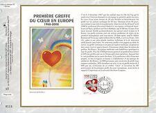FEUILLET CEF / DOCUMENT PHILATELIQUE / PREMIERE GREFFE DU COEUR EN EUROPE 2008