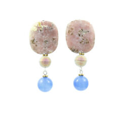 Damen Ohrringe Ohrclips Versilbert Blau Angeline Natur Jaspissteine, Catia Levy