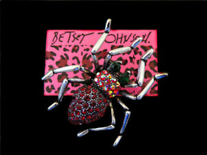Betsey Johnson Women Retro Crystal Rhinestone Spider Brooch Pin