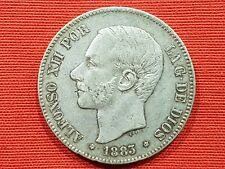 VICUSCOIN - SPAIN - SILVER - 5 PESETAS - ALFONSO XII - YEAR 1883 MSM