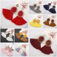 Women Ethnic Bohemian Long Tassel Fringe Ear Stud Dangle Earrings Jewelry Gift