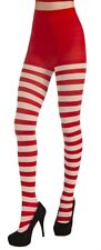 Ladies Red and White Striped Tights Nylons Adult One Size