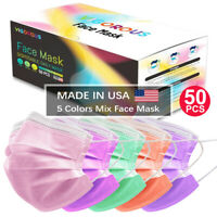 MADE IN USA 50 PCS Face Mask Mouth & Nose Protector Respirator Masks 5 Colors